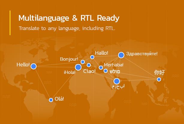 Multilanguage & RTL ready.