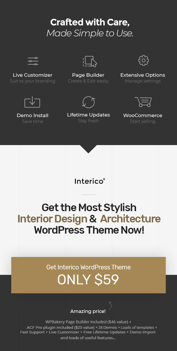 Get Interico - Stylish Interior design, Architecture & Furniture WordPress Theme