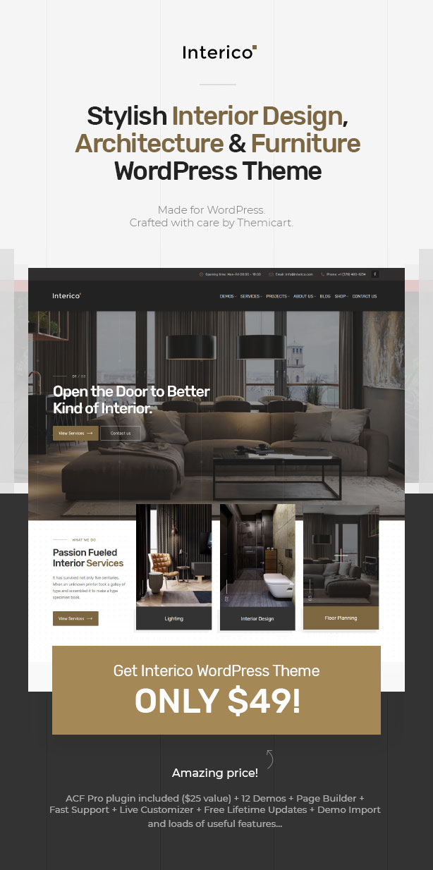 Interico   Stylish Interior Design, Architecture U0026 Furniture WordPress  Theme ...