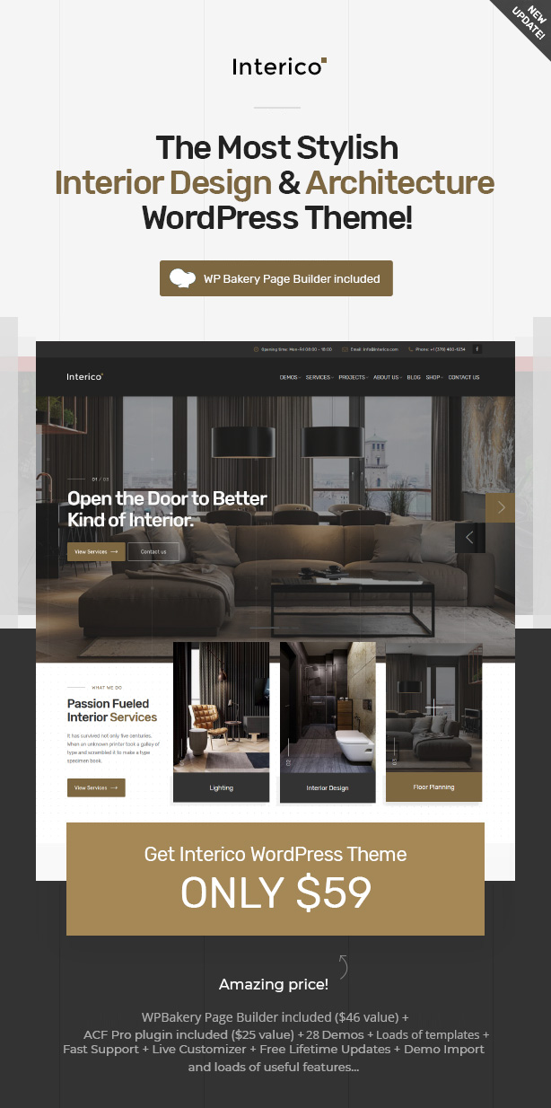 Interico - Stylish Interior design, Architecture & Furniture WordPress Theme